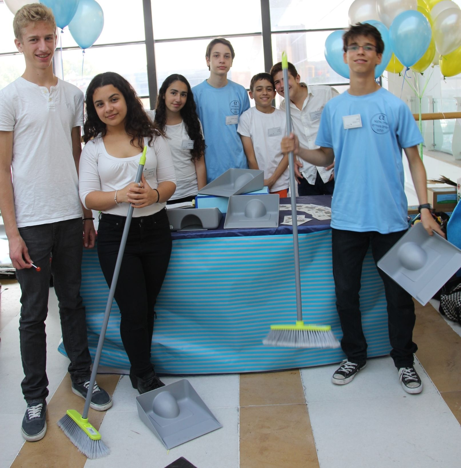 Daniel Alon and her group invented a mop that can be used by people with limited mobility. Photo courtesy of Young Entrepreneurs