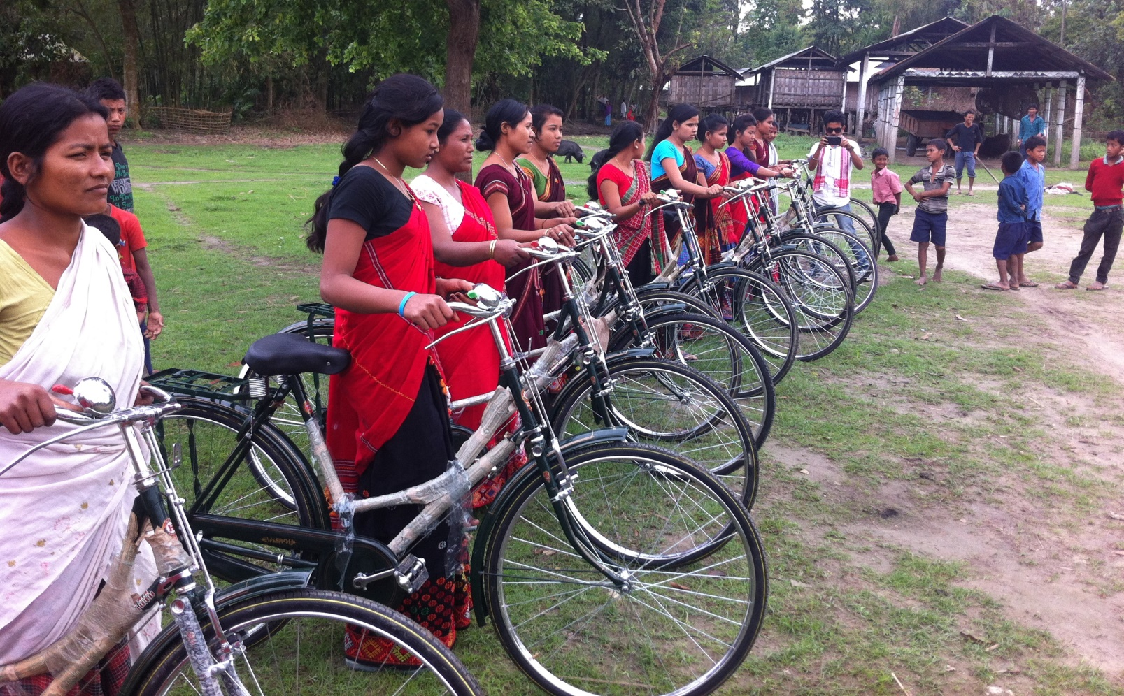 Mising women can get around more easily due to the Amar Majuli bike bank. Photo by Aviv Naveh