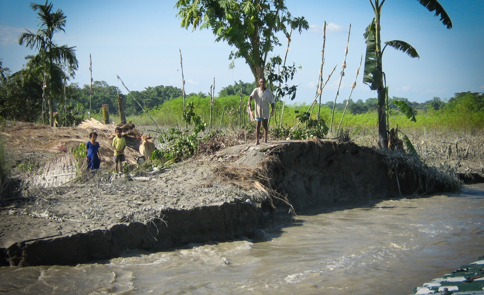 River erosion is a serious threat to the Mising tribe of Majuli. Photo by Mitu Khataniar