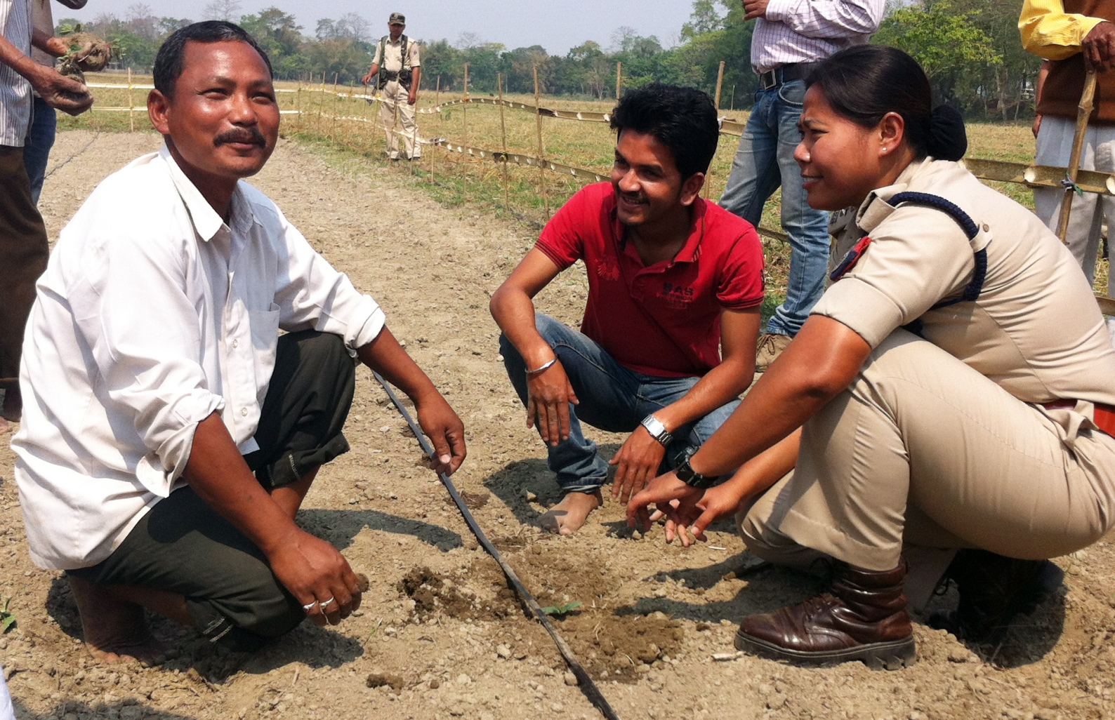 Mising farmers learning to use Israeli drip-irrigation methods. Photo courtesy of Gili Navon