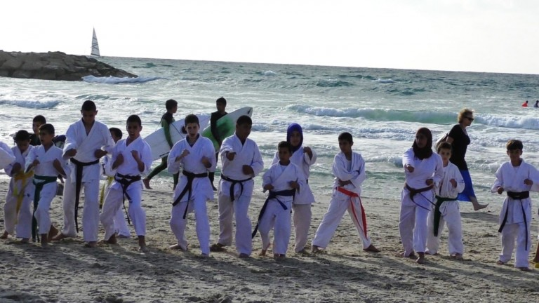 About 100 Jewish and Arab Budo for Peace participants gave a public demo at the second annual International Martial Arts Friendship Training in May 2016. Photo courtesy of Budo for Peace