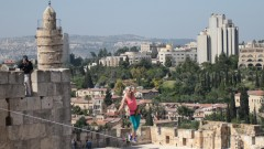 Heather Larsen slacklines at the Tower of David on May 2, 2016. Photo by Tower of David