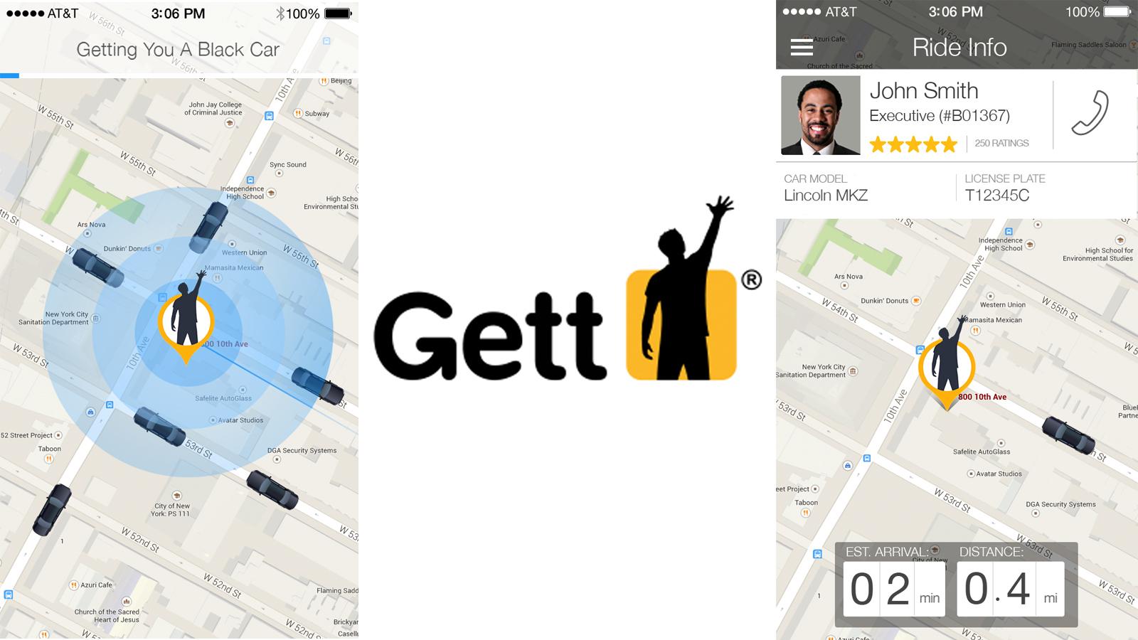 Gett ride-hailing app. Photos by Gett