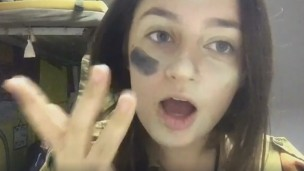 Screenshot from Hannah Laskow Defore's camo makeup tutorial.