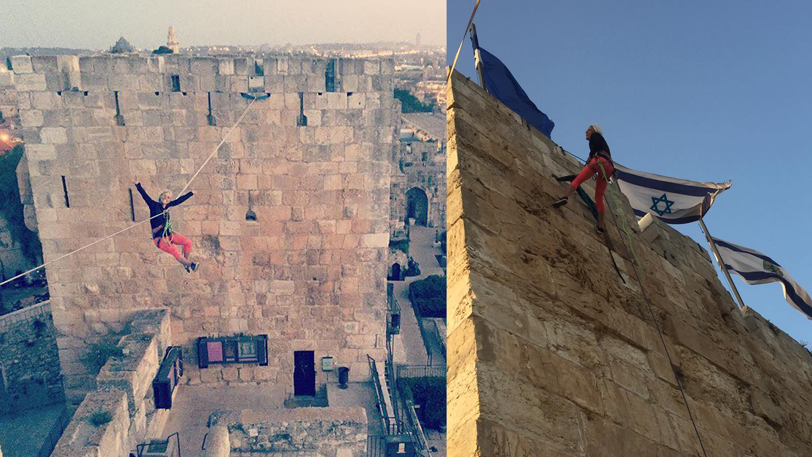 Heather Larsen, one of the top female highliners in the world, gets ready to slackline at the Tower of David. Photos via Facebook