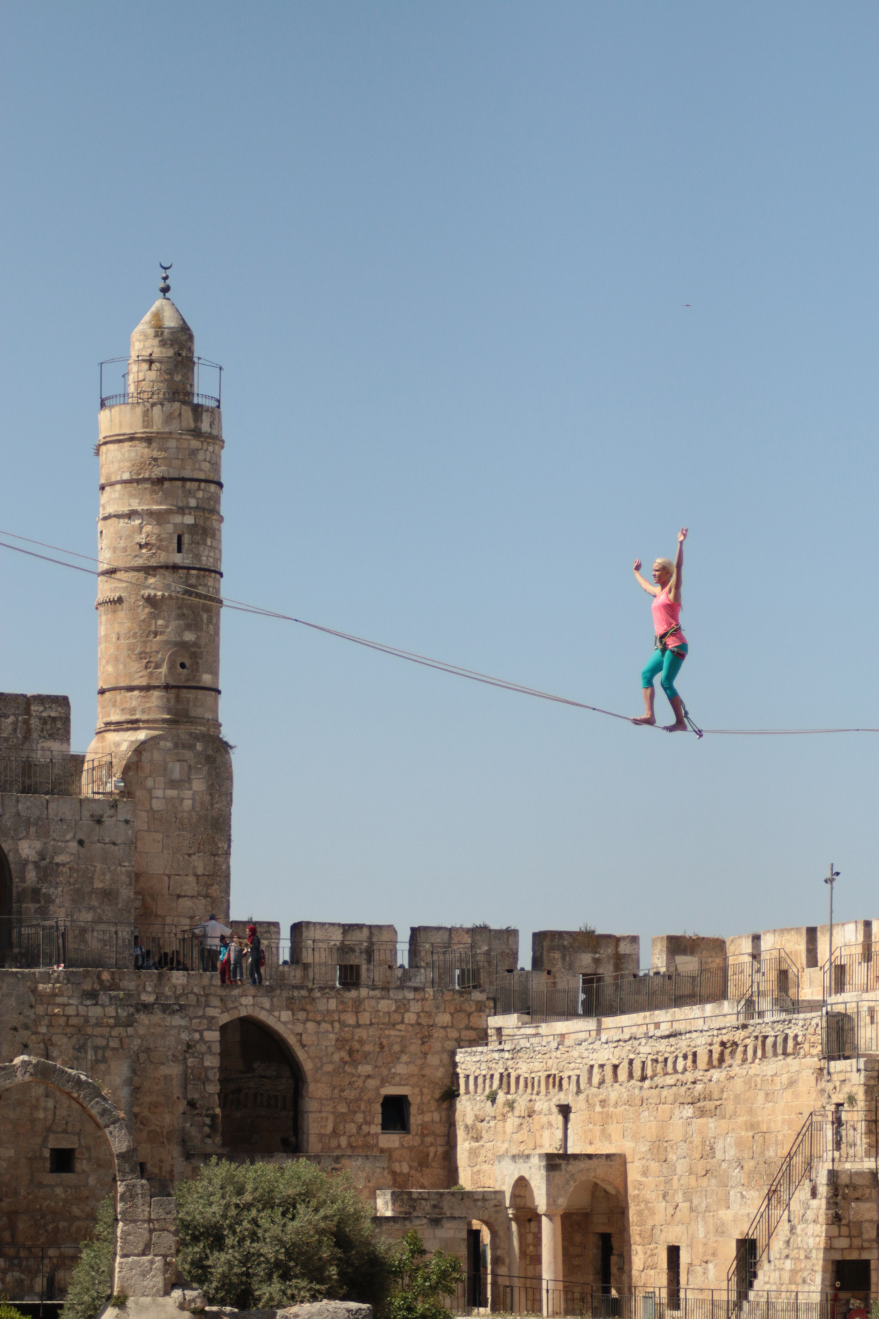 The slackline crossing the courtyard of the Tower of David was 34 meters long and 20+ meters high. Photo by Tower of David Museum