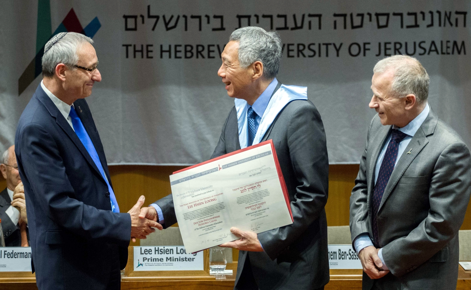 Hebrew University President Prof. Menahem Ben-Sasson, left,with Singapore's Prime Minister Lee Hsien Loong and Hebrew University Rector Prof. Asher Cohen. Photo by Miriam Alster/FLASH90 for HUJ