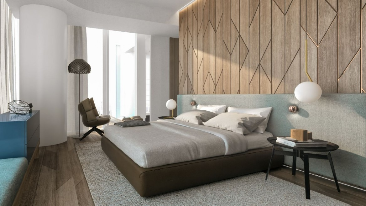 A bedroom inside the luxury Meier-on-Rothschild project. Photo by Amit Gosher