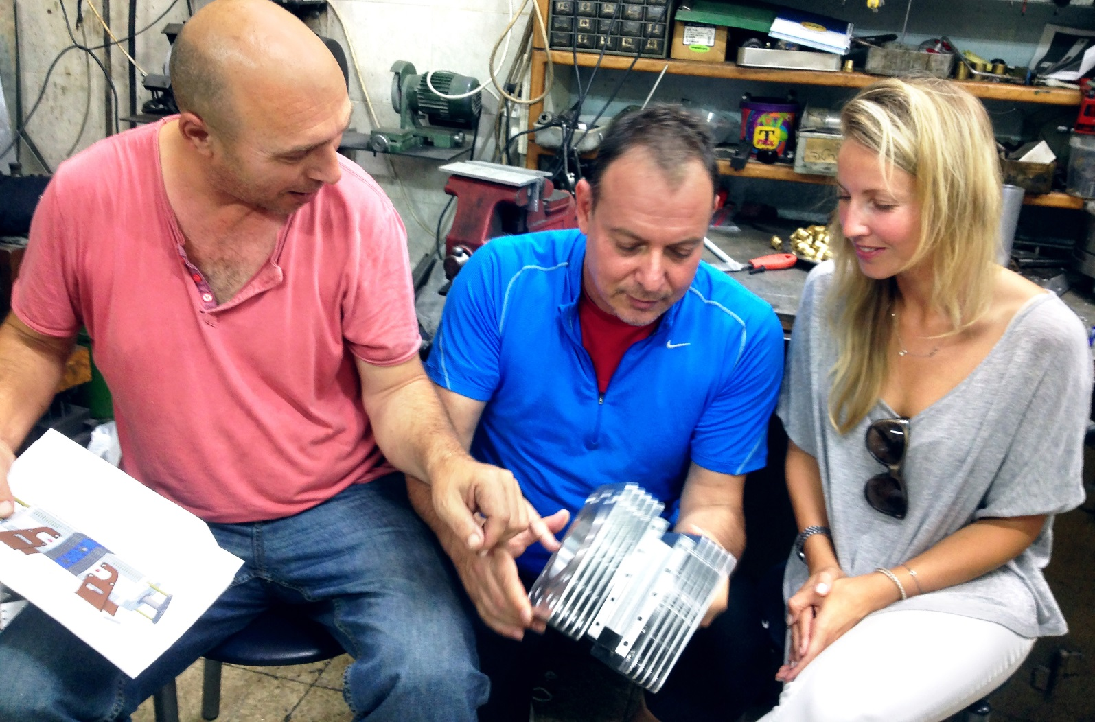 CTO Shaul Yaakoby, CMO Gal Fridman and Director of Business Development Maya Gonik with the Aquarius engine. Photo: courtesy