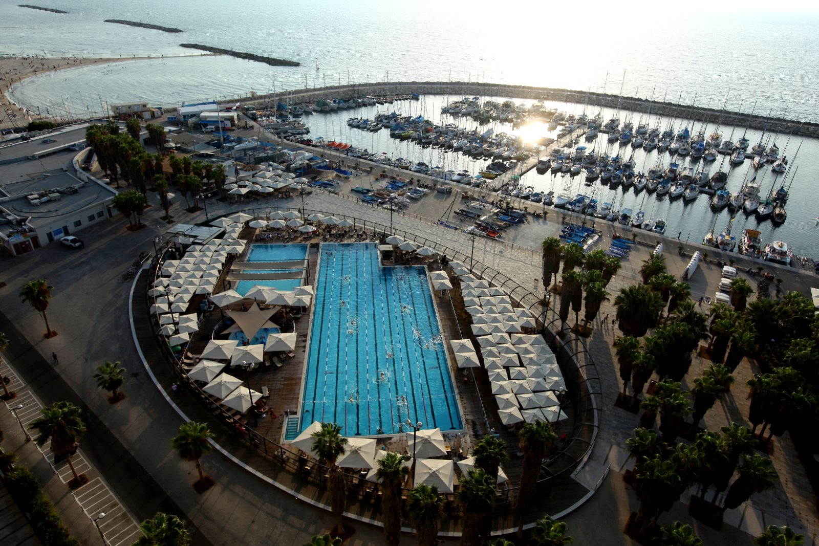 Overview of the Gordon swimming pool at the Tel Aviv beach. Photo by Moshe Shai/FLASH90