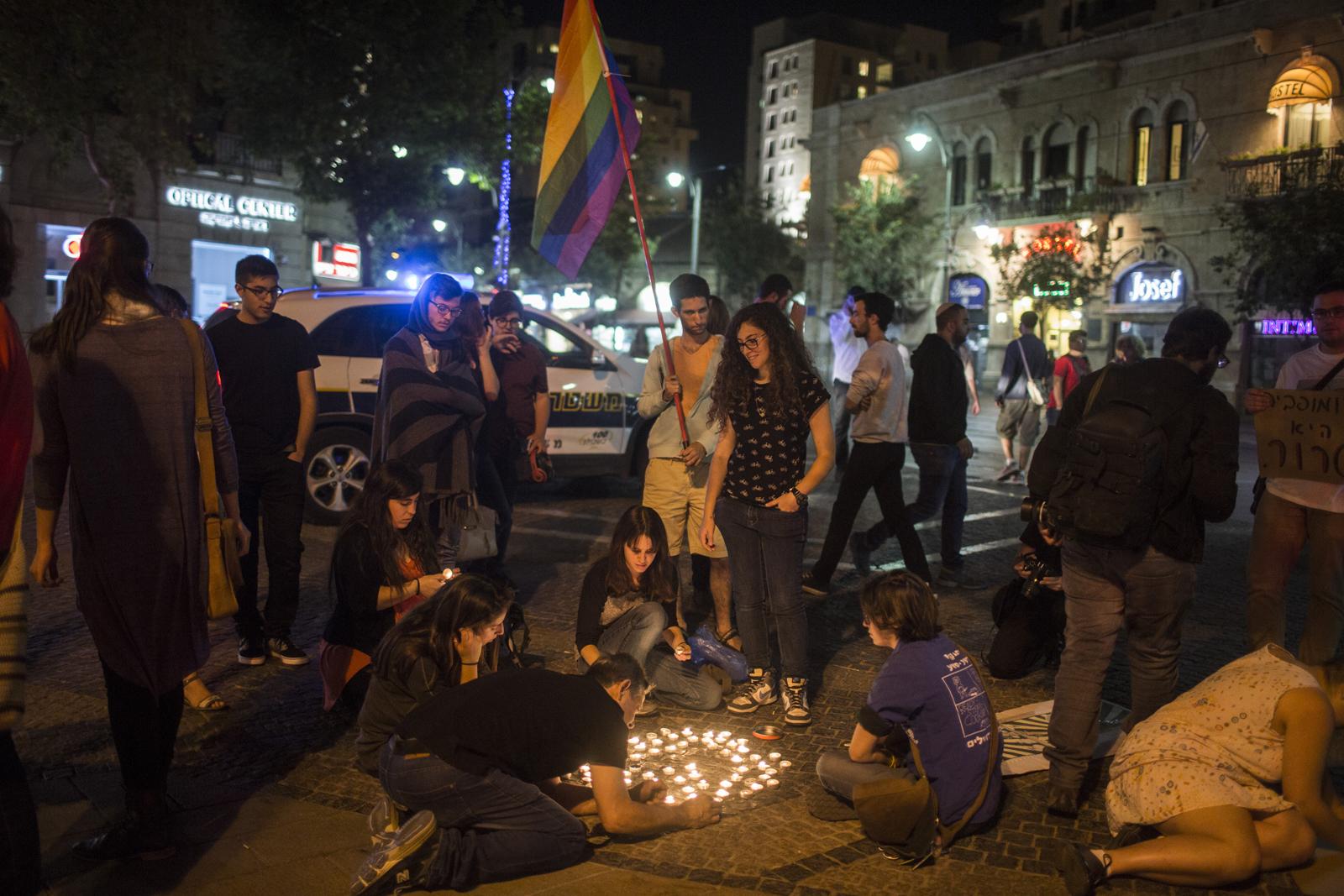 Israelis show solidarity for Pride community in Orlando. Photo by Hadas Parush/Flash90