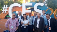 Shown at GES 2016, from left, are SolCold CMO Gadi Grotes, BwareIT founder Konstantin Berezin, Sonorapy head of business development Noemie Alliel, PresenTense Israel CEO Guy Spigelman, Mercu-Removal founder-CTO Zach Barnea, Sensilize cofounder Robi Stark, Waseem Abu Salem of Loop, and Sesame Enable cofounder Oded Ben Dov. Photo: courtesy