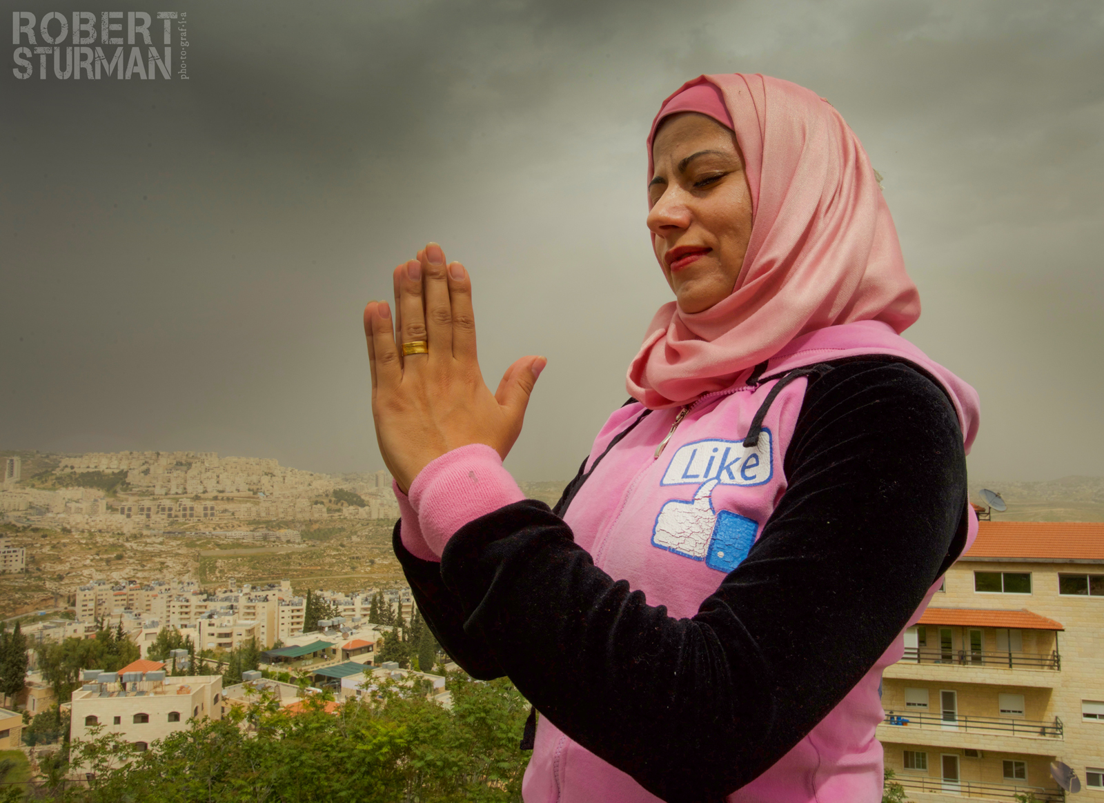 Rula Samer of Bethlehem teaches yoga to pregnant women. Photo by Robert Sturman