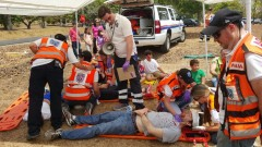 United Hatzalah volunteers participating in a mass casualty drill. Photo: courtesy