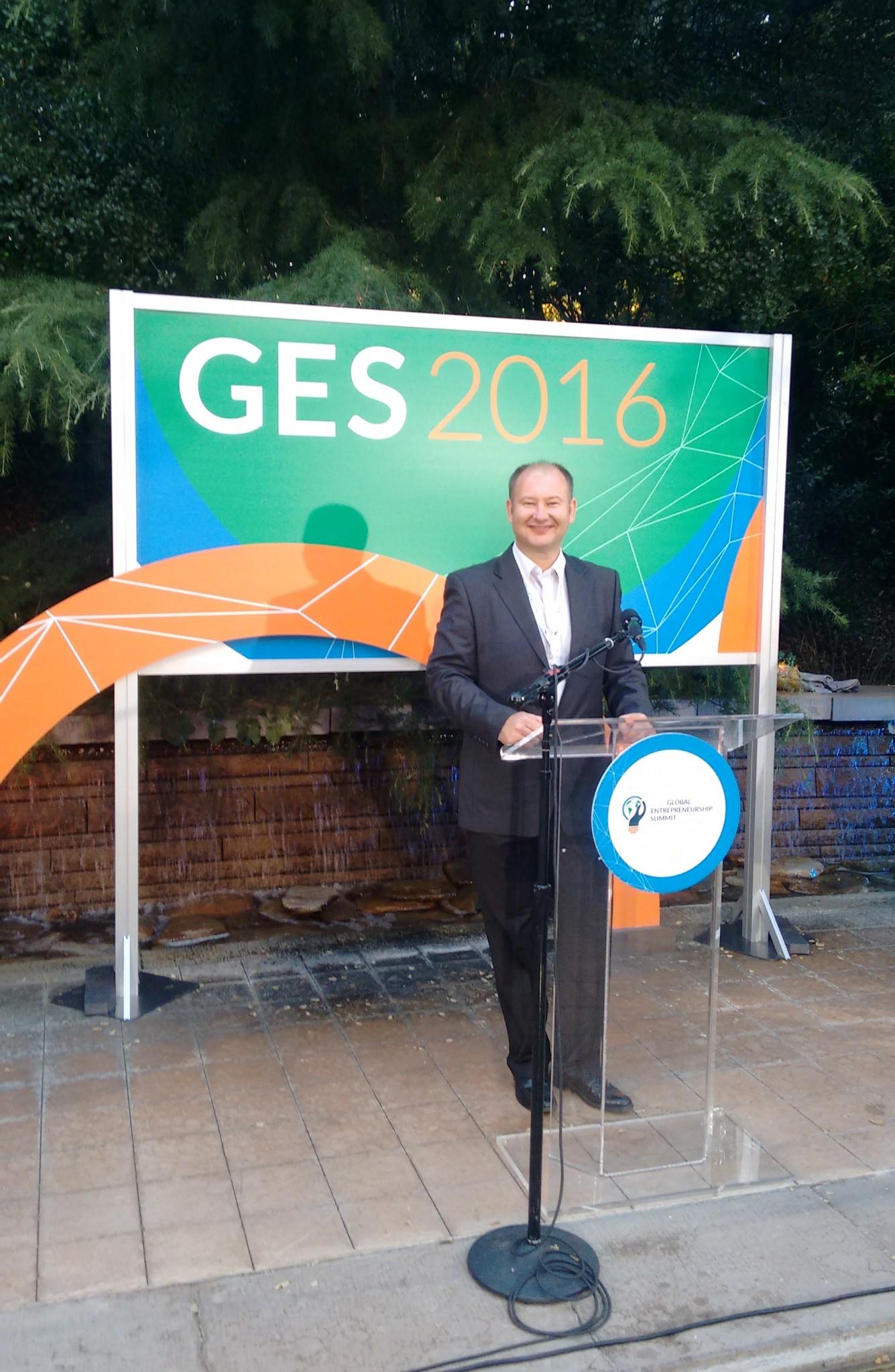 Cap to right: BwareIT's Konstantin Berezin at GES Summit 2016. Photo: courtesy