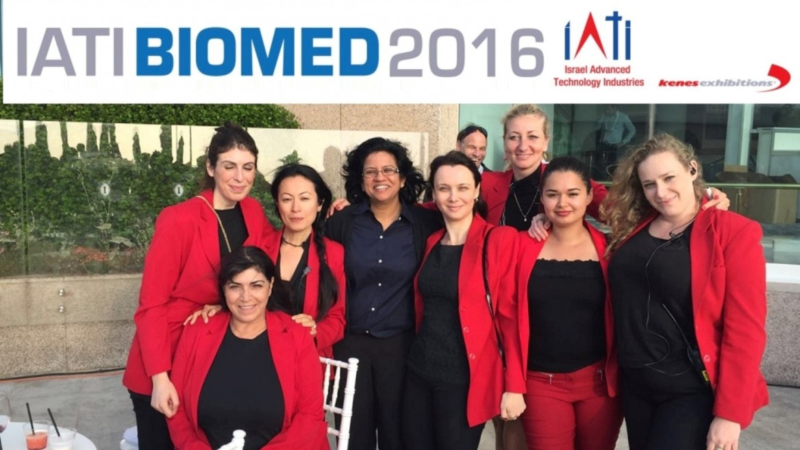 The IATI Biomed staff preparing to greet thousands of international visitors at the 2016 conference in Tel Aviv. Photo: courtesy