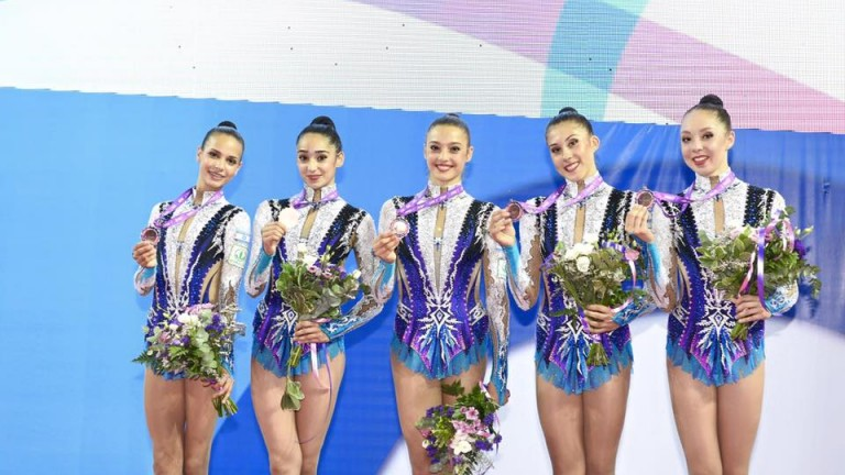 Israeli gymnasts win bronze medal at Rhythmic Gymnastics European Championship. Photo via ueg.org