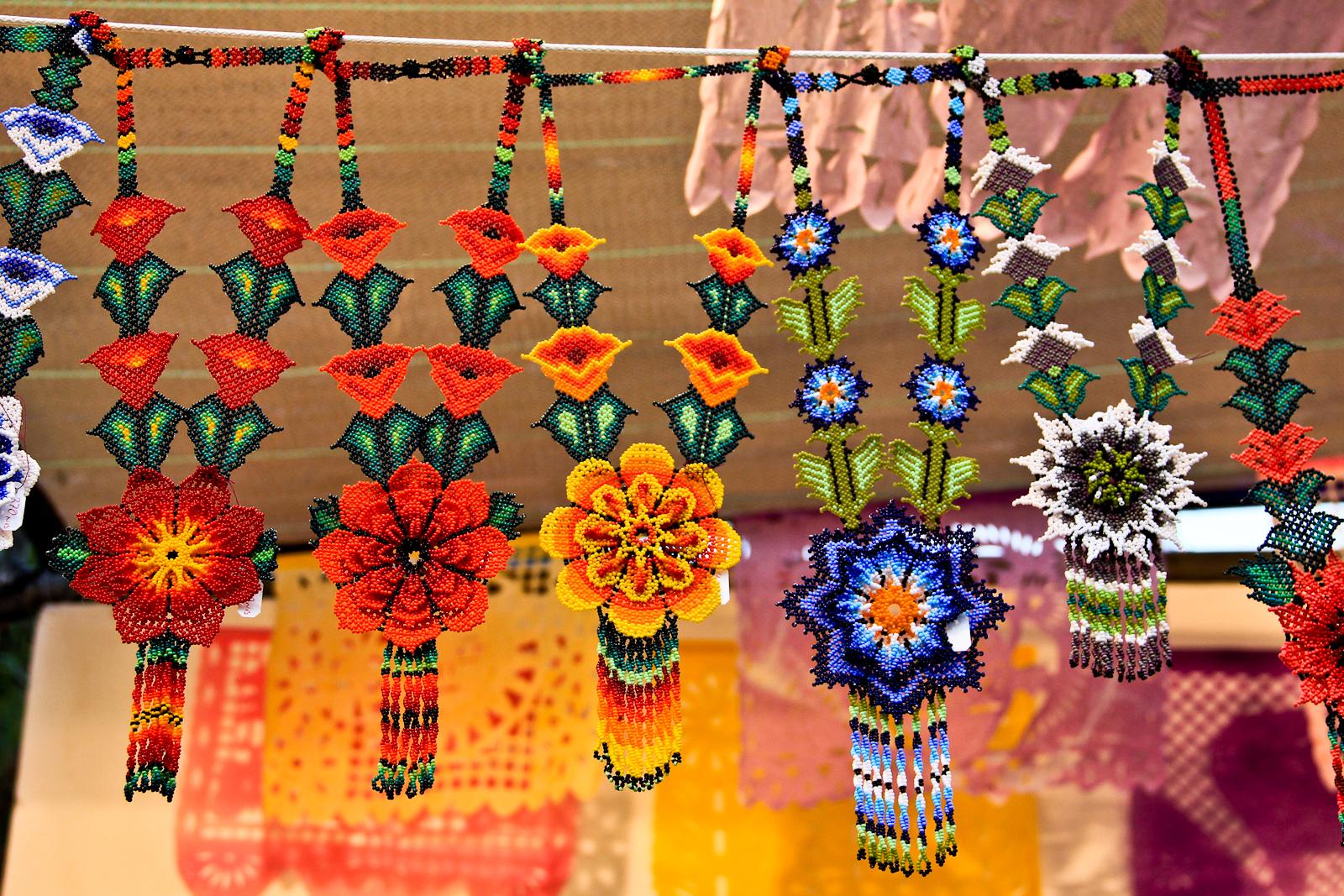 Mexican beadwork on display at the International Arts and Crafts Fair in Jerusalem. Photo by Avital Pinnick