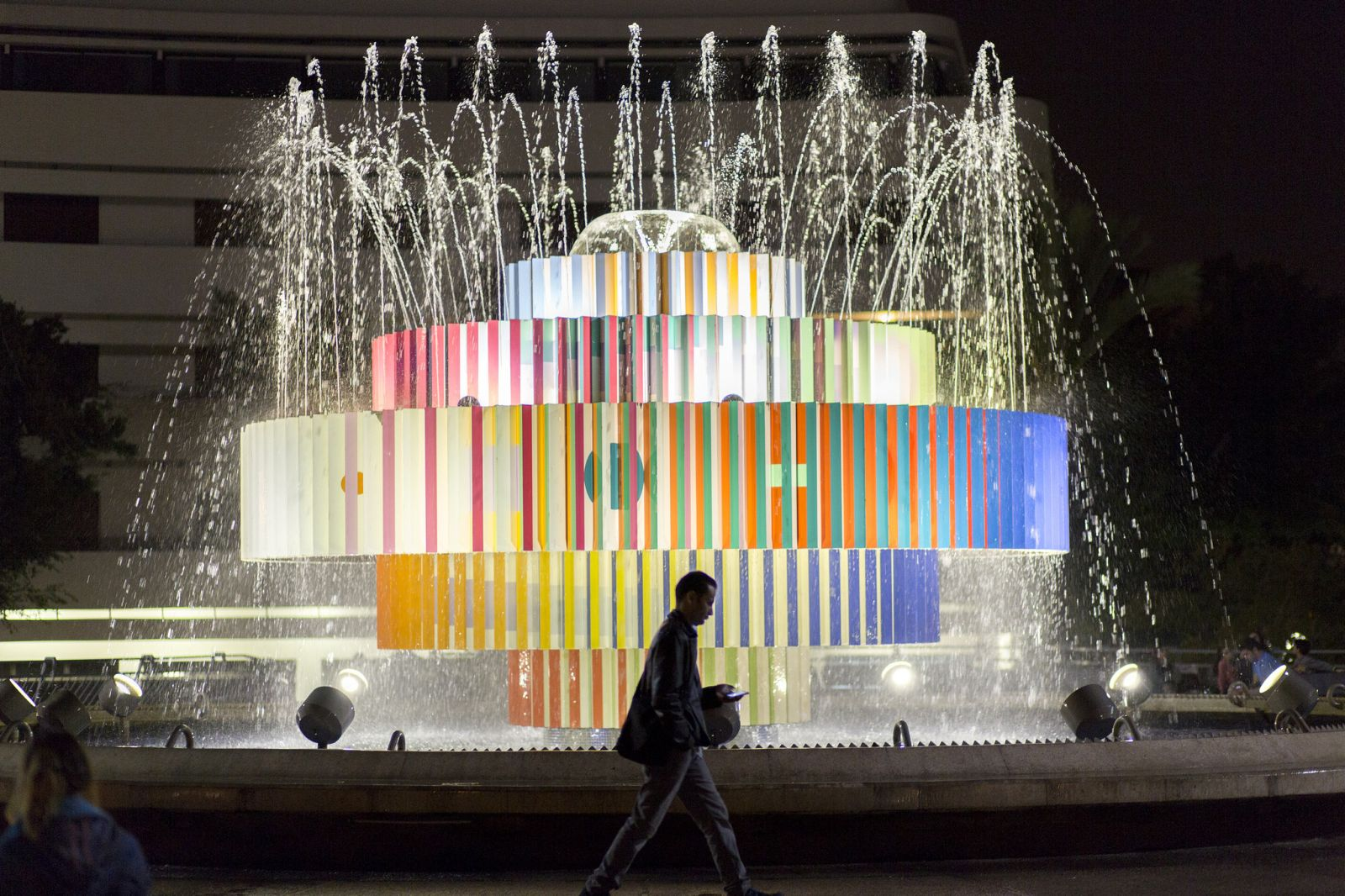 Artist Yaacov Agam designed the Fire & Water Fountain in Tel Aviv's Dizengoff Square. Photo by Linneah Anders