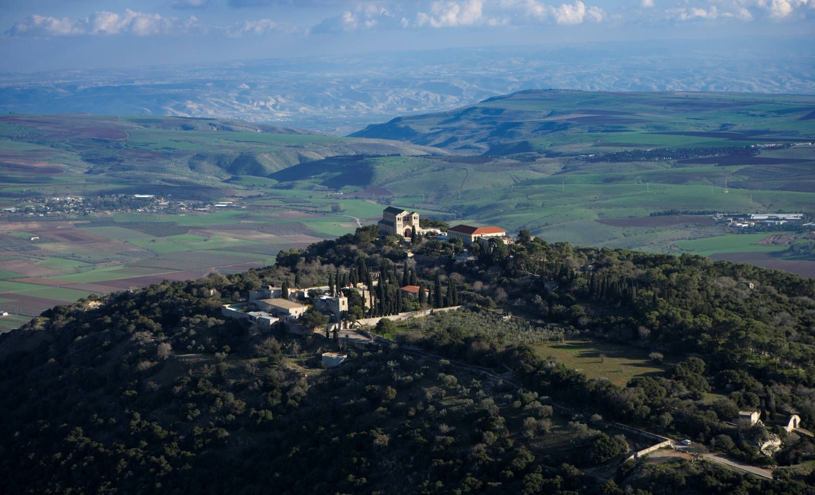An aerial view of Mount Tabor and Lower Galilee. Photo by Mordagan/Israel Tourism Ministry