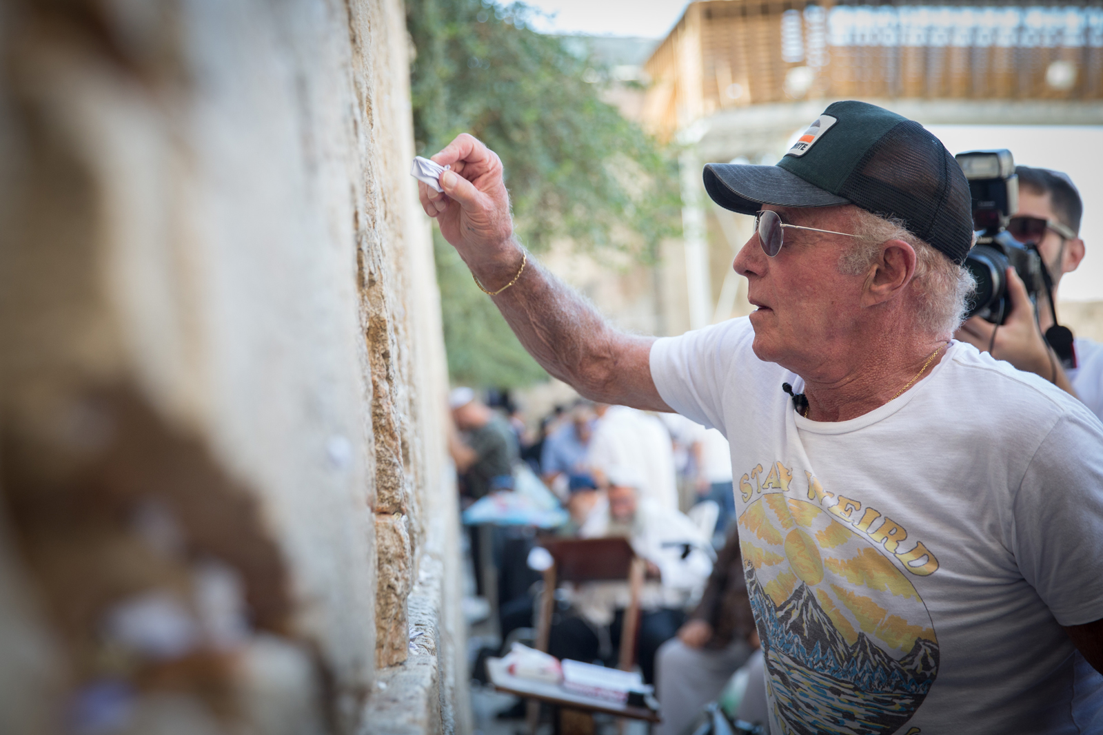 American actor James Caan at the Western Wall in Jerusalem. Photo by Flash90