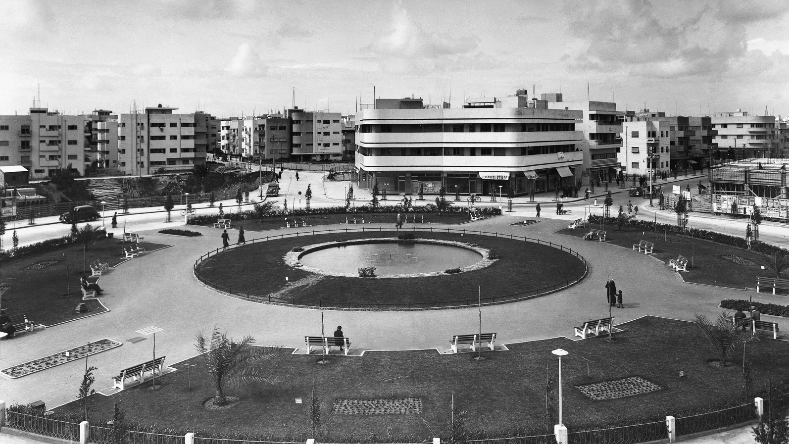 This Bauhaus building at Tzina Square (now Dizengoff Square) in Tel Aviv, built in 1937 by Genia Averbuch, is now The Cinema boutique hotel. Photo from the Library of Congress, G. Eric and Edith Matson Photograph Collection