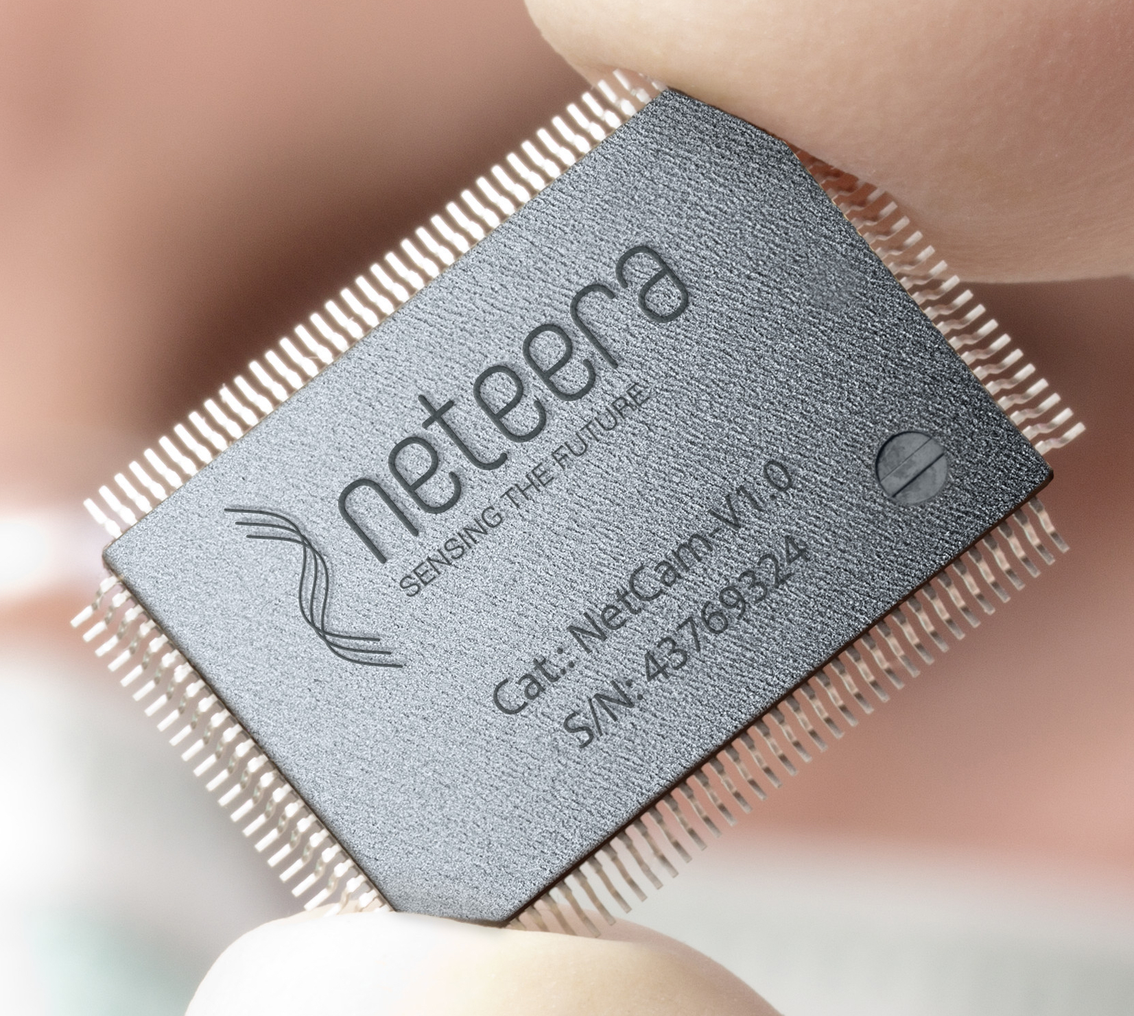 The chip inside Neteera's nano camera. Photo courtesy of Yissum