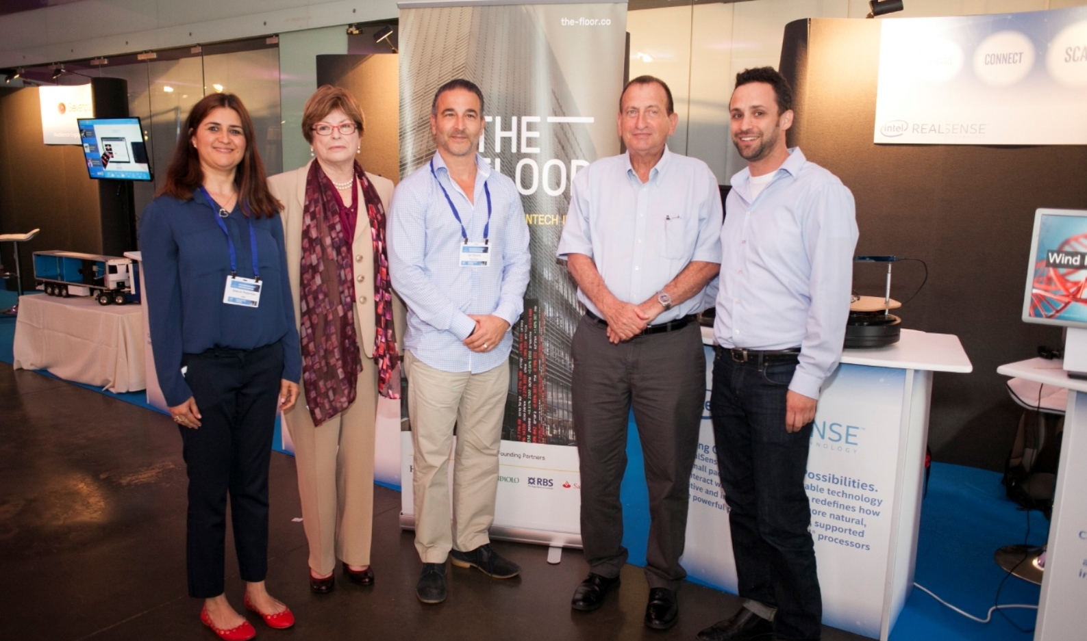 From left, Sharon Futterman, director of business development for IoT Intel Israel; Maxine Fassberg, head of Intel Israel; Gil Devora, director of The Floor; Tel Aviv Mayor Ron Huldai; and Ramon Roy, director of Intel's IoT startup accelerator at The Floor. Photo by Roy Pernik