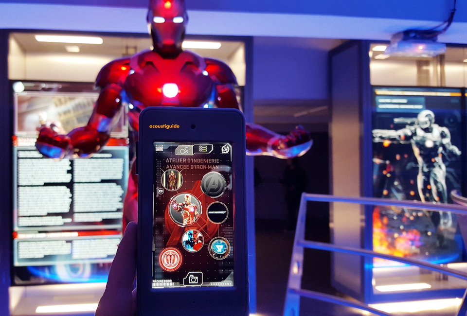 Acoustiguide developed a custom app and rich media for The Avengers S.T.A.T.I.O.N. exhibition in Paris and Las Vegas. Photo: courtesy