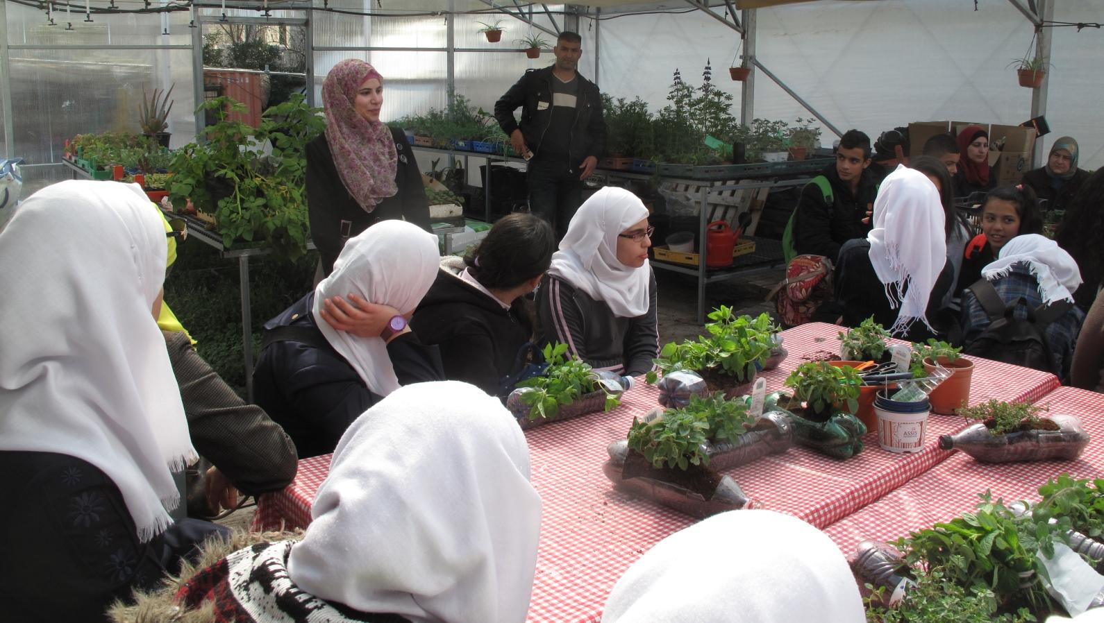 Arab Jerusalem teens learning about sustainable gardening at the Jerusalem Botanical Gardens. Photo: courtesy