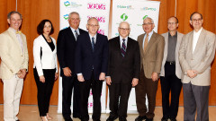 From left at the press conference in Jerusalem: Dr. Kenneth Offit (Memorial Sloan Kettering Cancer Center, NY), Dr. Judy Garber (Center for Cancer Genetics and Prevention, Boston), Andrew Abramson (Cure Breast Cancer Foundation), Dr. Ehud Davidson (Soroka University Medical Center, Beersheva), Dr. Larry Norton (Memorial Sloan Kettering), Dr. David Geffen (Soroka), Dr. Amnon Lahad (Hebrew University) and Dr. Perry Davis (Israel Healthcare Foundation). Photo: courtesy