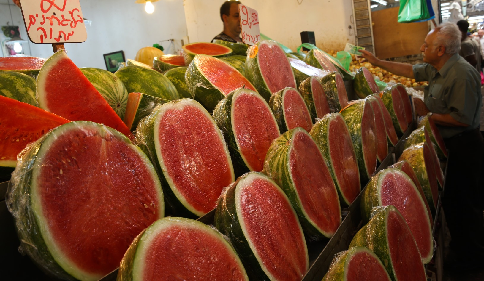 Watermelons for sale in the central Israeli city of Petah Tikva last summer. Photo by Nati Shohat/FLASH90