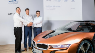 From left, Intel CEO Brian Krzanich, Chairman of the Board of Management of BMW AG Harald Krüger and Mobileye Cofounder, Chairman and CTO Prof. Amnon Shashua at a news conference in Munich where they announced their partnership. Photo courtesy of BMW Group