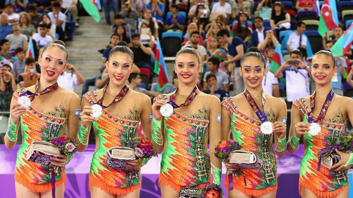 Israel's rhythmic gymnastics teammates with their silver medals at the European Games in 2015. Photo by Robert Prezioso/Getty Images for BEGOC
