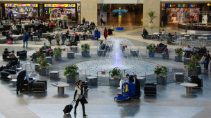 This fountain is a central feature of the airport's Terminal 3. Photo via Shutterstock.com