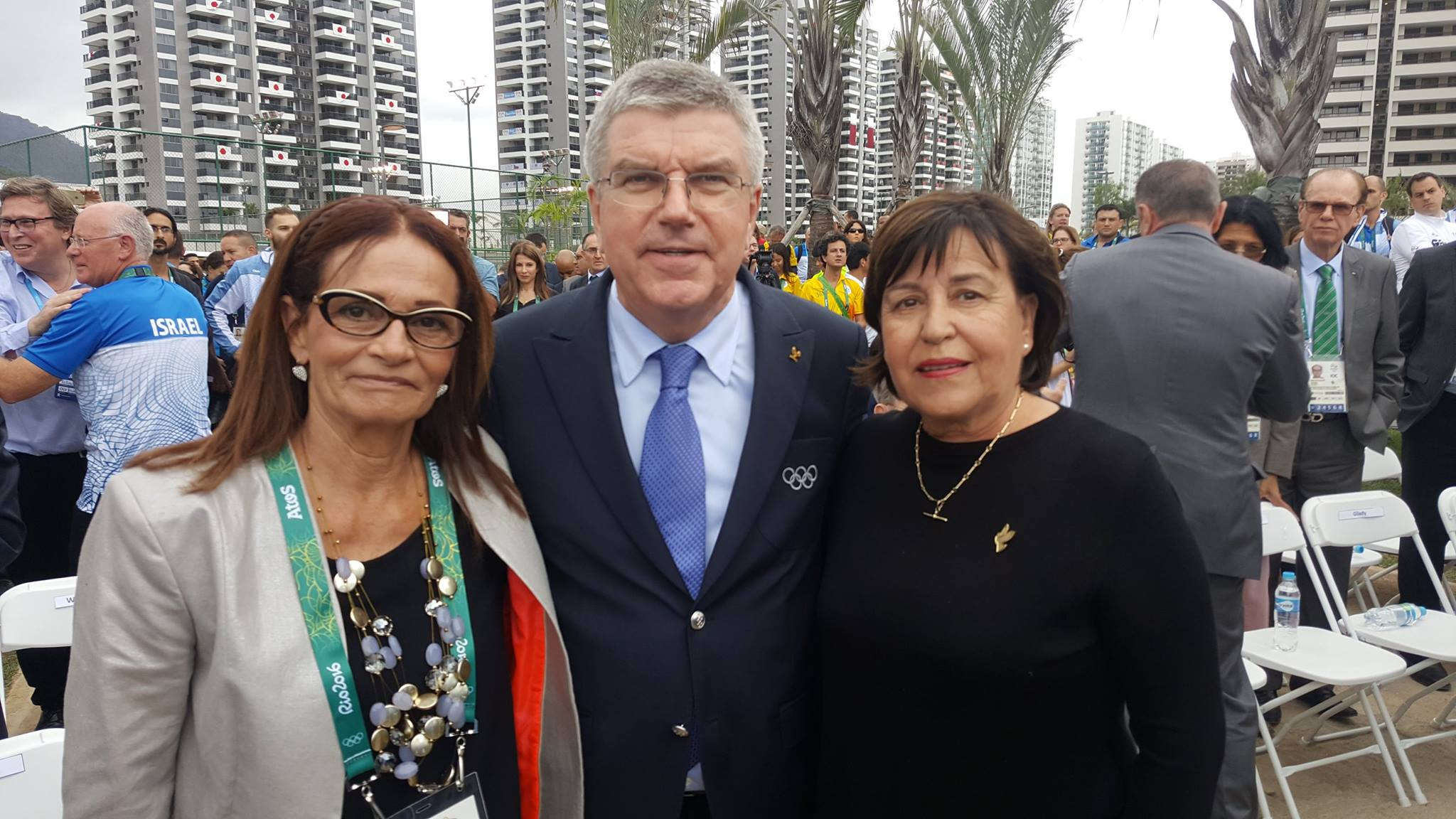International Olympic Committee President Thomas Bach poses with Ankie Spitzer and Ilana Romano, widows of two of the 11 Israelis murdered at the 1972 Munich Olympics, at the first-ever IOC-led memorial ceremony in Rio de Janeiro. Photo via Israel Olympic Committee/Facebook