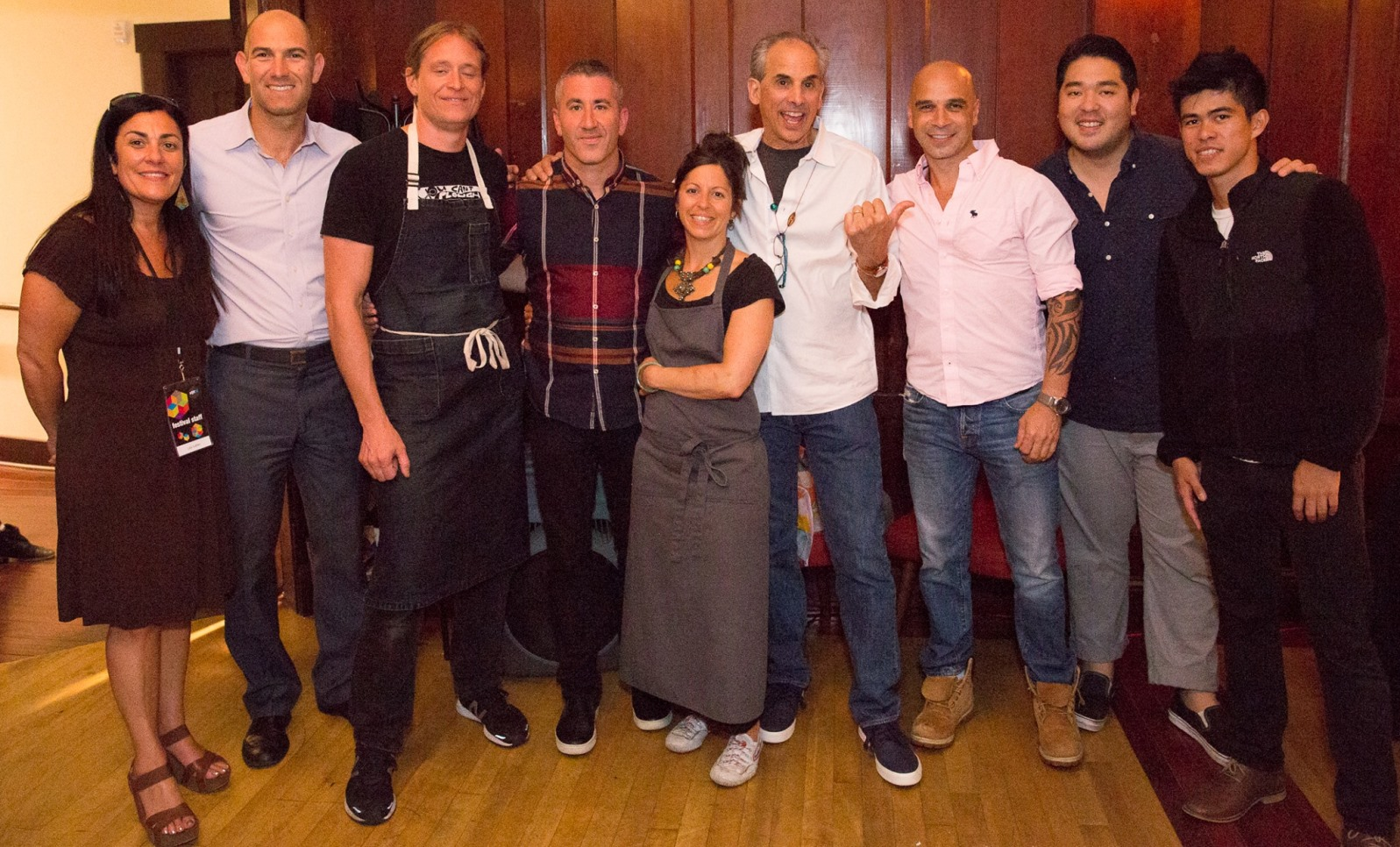 Chef Michael Solomonov (center, plaid shirt) and filmmaker Roger Sherman (center, white shirt) with chefs Ryan Pollnow, Nick Balla, Cortney Burns and Mourad Lahlou. Photo by Anita Bowen Photography