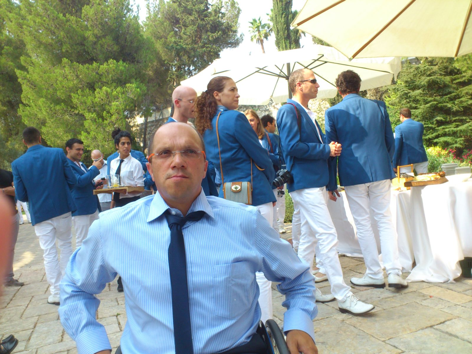 Shraga Weinberg and other Olympic athletes at the President's Residence in Jerusalem. Photo: courtesy