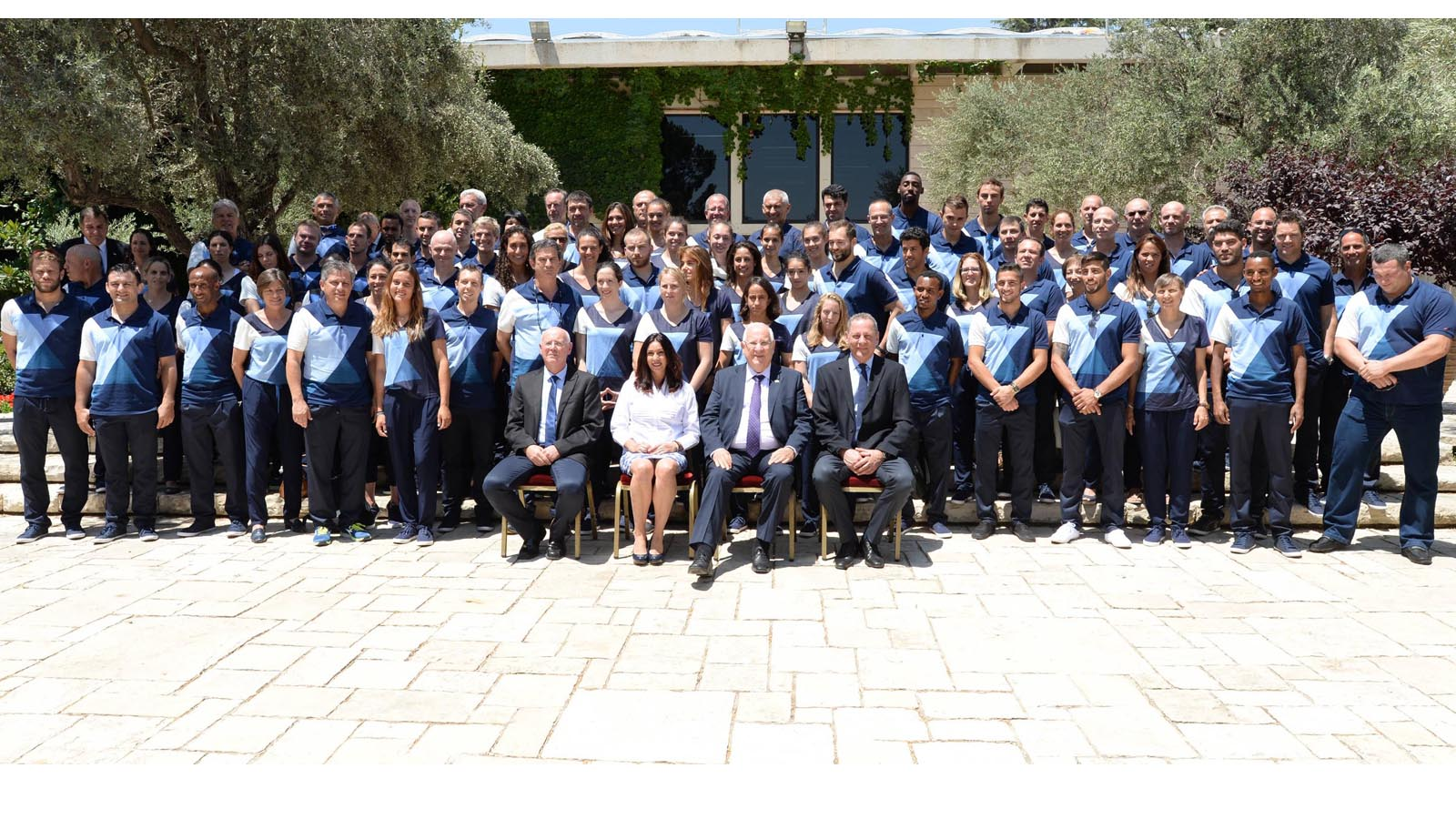 President Reuven Rivlin hosts the Israeli delegation to the 2016 Olympics, at the president's residence in Jerusalem, on July 13, 2016. Photo by Mark Neyman/GPO