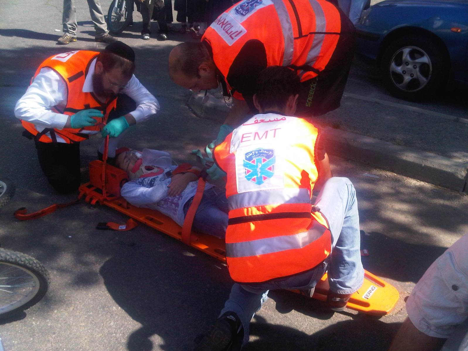 From left, ultra-Orthodox, secular Jewish and Arab volunteers from United Hatzalah working together. Photo: courtesy
