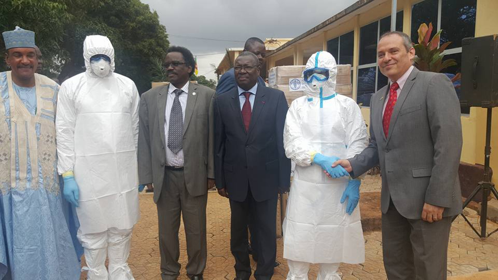 Israeli Ambassador to Cameroon Ran Gidor, right, delivers protective gear to local authorities. Photo courtesy of MASHAV
