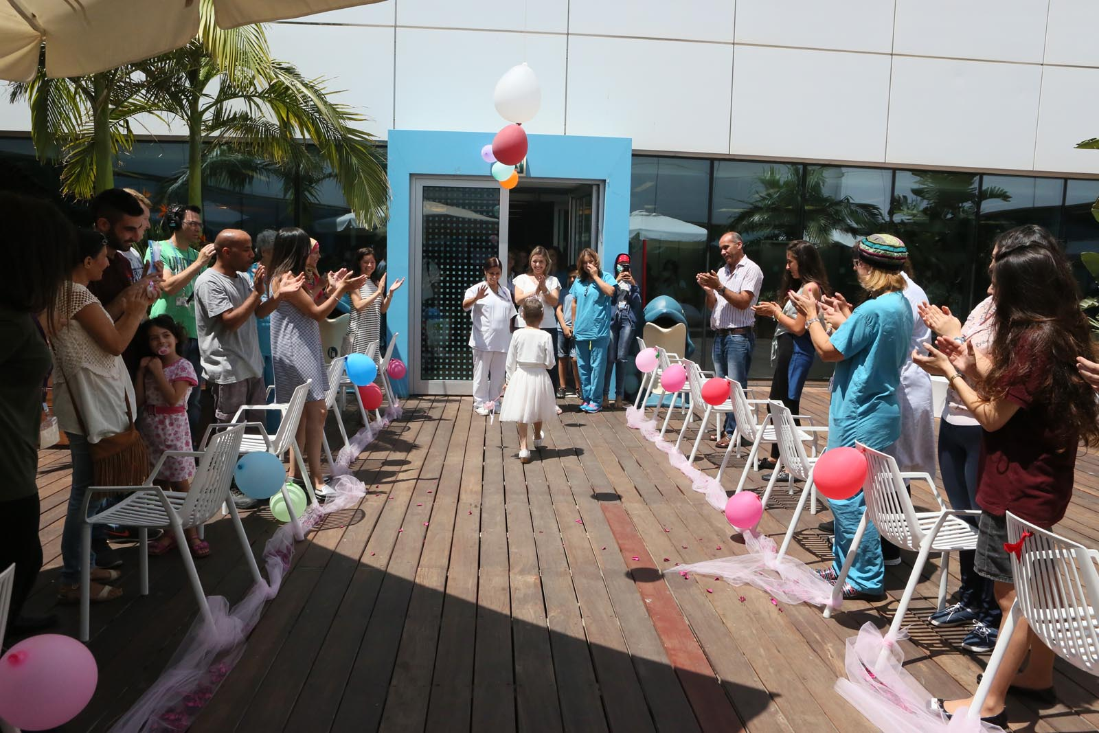 A farewell party celebrating Syrian cancer survivor's discharge seven months after she first arrived at the Ruth Rappaport Children's Hospital in Rambam Health Care Campus. Photo courtesy