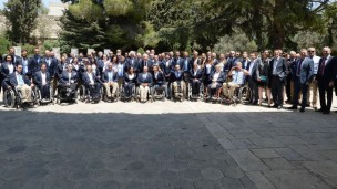 Israel's 2016 Paralympic delegation with President Reuven Rivlin, center, at the President's Residence in Jerusalem. Photo by Keren Isacson