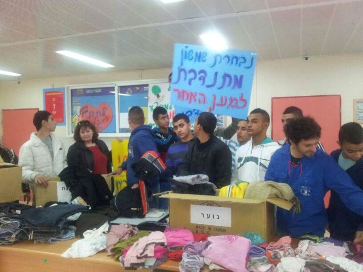 Israeli students collect warm winter gear for Syrian refugees. Photo: courtesy