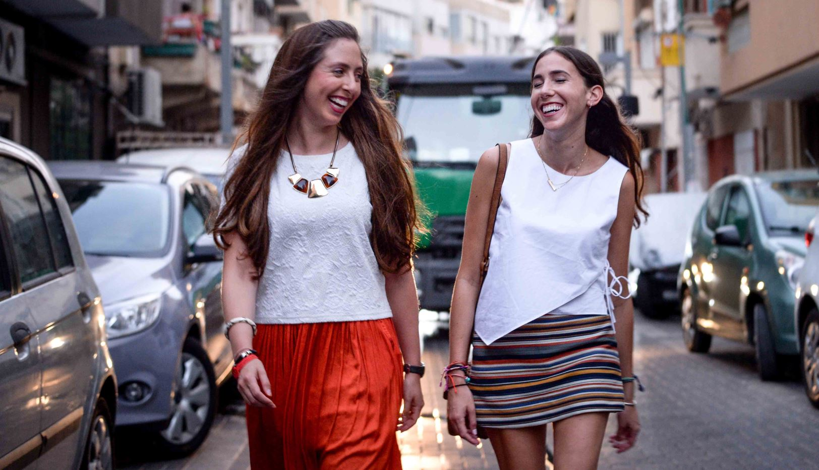 "New York fashion forecasters Rebecca Brown, left, and Emily Fine during their group's ""Fashion Week"" in Tel Aviv. Photo by Aviram Valdman"