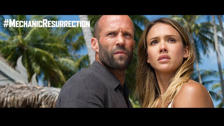 Jessica Alba with Jason Statham in 'Mechanic Resurrection.' Photo via Facebook