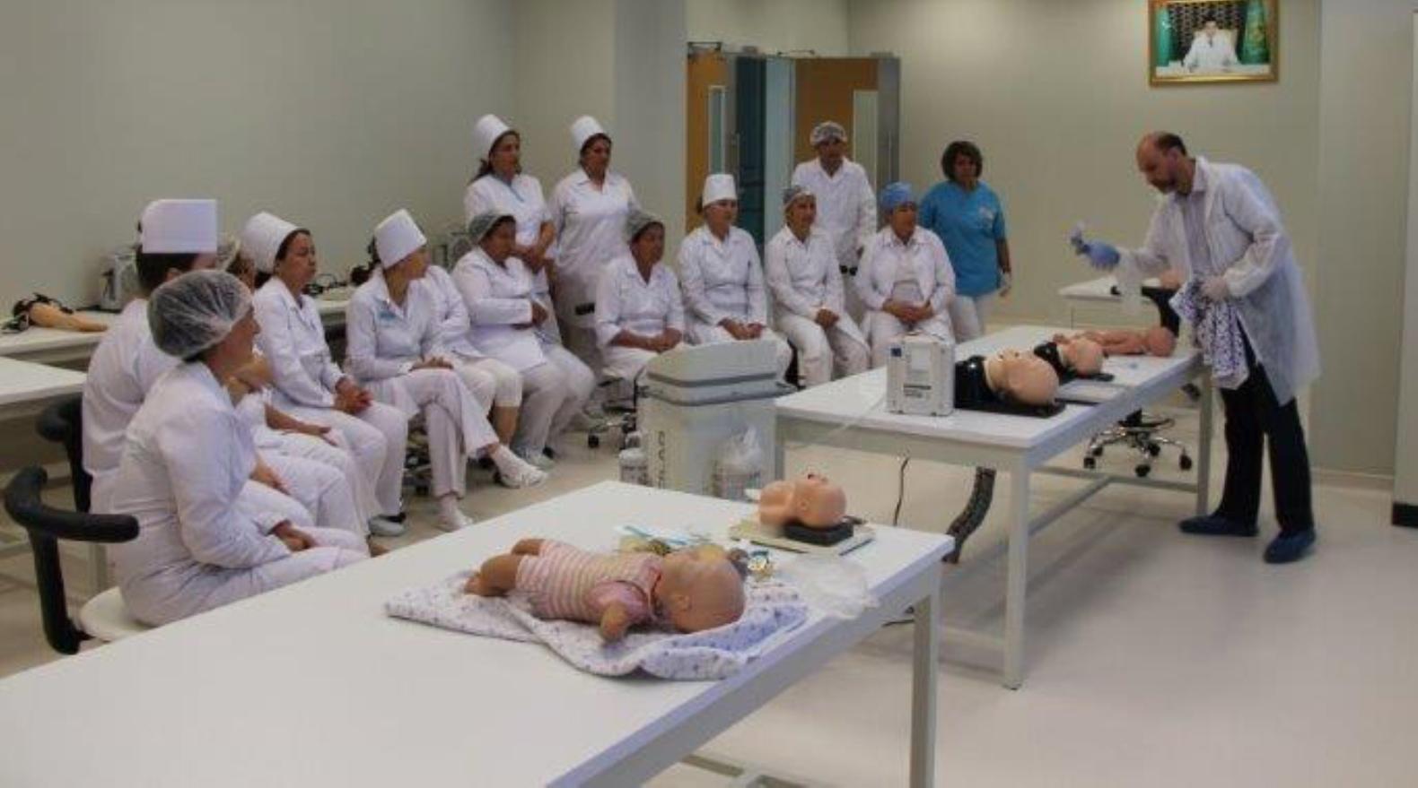 Israeli neonatal experts teaching skills to hospital staff in Turkmenistan. Photo courtesy of MASHAV