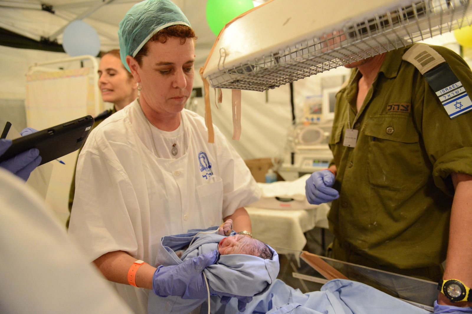 A baby is born at the IDF field hospital in Nepal. Photo courtesy of the IDF