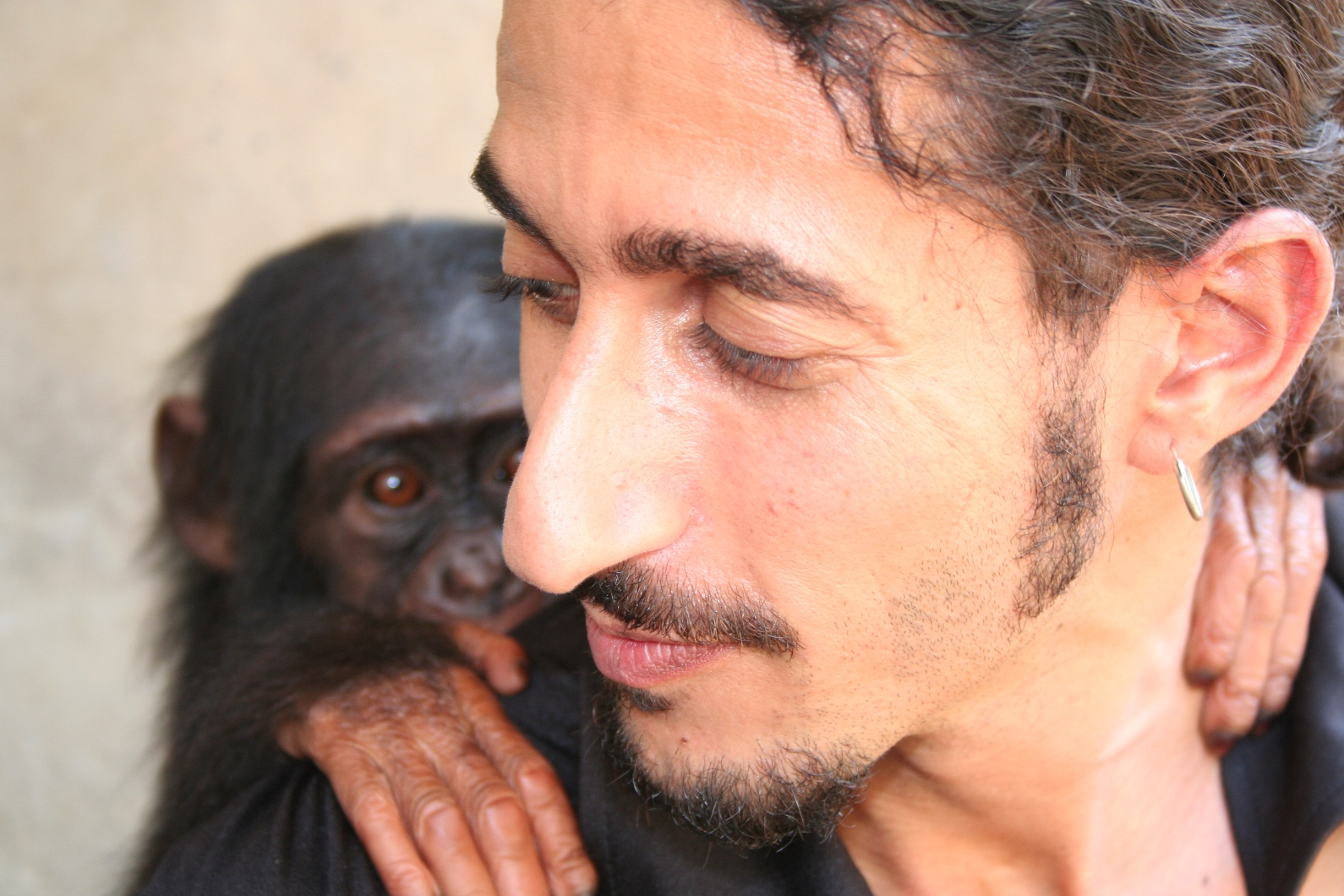 Ofir Drori's life work began with his rescue of an orphaned chimp he named Future. Photo courtesy of EAGLE Network