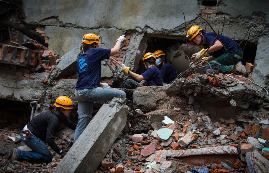 IsraAID working in the Gongabu district of Kathmandu. Photo: IsraAID/Mickey Noam Alon